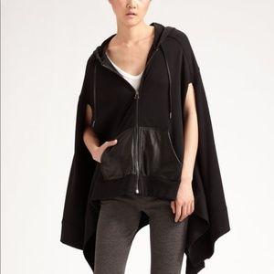 T Alexander Wang Black Hooded Poncho Coat Jacket